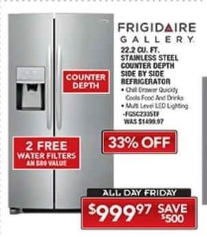 PC Richard & Son Black Friday: Frigidaire Gallery 22.2 Cu. Ft. Stainless Steel Counter Depth Side by Side Refrigerator for $999.97