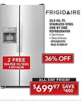 PC Richard & Son Black Friday: Frigidaire 25.5 Cu. Ft. Stainless Steel Side by Side Refrigerator for $699.97