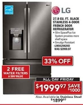 PC Richard & Son Black Friday: LG 27.5 Cu. Ft. Black Stainless 4-Door French Door Refrigerator for $1,999.97