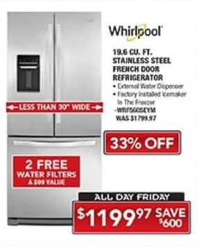 PC Richard & Son Black Friday: Samsung 19.6 Cu. Ft. Stainless Steel French Door Refrigerator for $1,199.97
