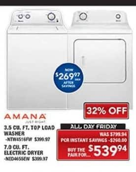 PC Richard & Son Black Friday: Amana 3.5 Cu. Ft. Top Load Washer and 7.0 Cu. Ft. Electric Dryer Set for $539.94