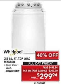 PC Richard & Son Black Friday: Whirlpool 3.5 Cu. Ft. Top Load Washer for $299.94