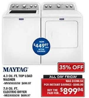 PC Richard & Son Black Friday: Maytag 4.3 Cu. Ft. Top Load Washer and 7.0 Cu. Ft. Electric Dryer Set for $899.94