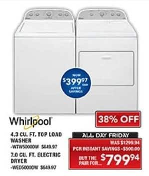 PC Richard & Son Black Friday: Whirlpool 4.3 Cu. Ft. Top Load Washer and 7.0 Cu. Ft. Electric Dryer for $799.94