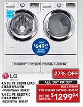 PC Richard & Son Black Friday: LG 4.5 Cu. Ft. Front Load Steam Washer and 7.4 Cu. Ft. Electric Steam Dryer Set for $1,299.94