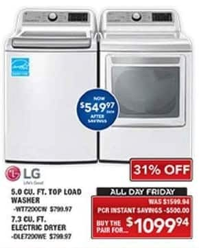 PC Richard & Son Black Friday: LG 5.0 Cu. Ft. Top Load Washer and 7.3 Cu. Ft. Electric Dryer Set for $1,099.94