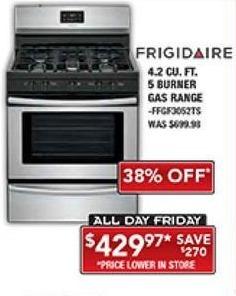 PC Richard & Son Black Friday: Frigidaire 4.2 Cu. Ft. 5 Burner Gas Range for $429.97