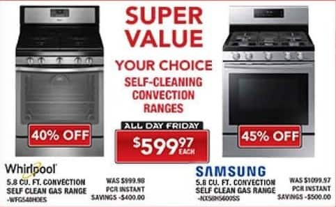 PC Richard & Son Black Friday: Whirlpool 5.8 Cu. Ft. Convection Self Clean Gas Range for $599.97