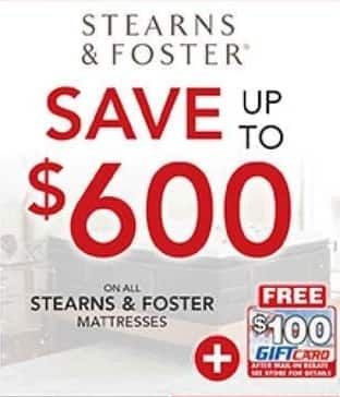 PC Richard & Son Black Friday: All Stearns & Foster Mattresses  + $100 Gift Card After Mail-In Rebate - Save Up To $600
