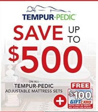 PC Richard & Son Black Friday: All Tempur-Pedic Mattresses  + $100 Gift Card After Mail-In Rebate - Save Up To $500