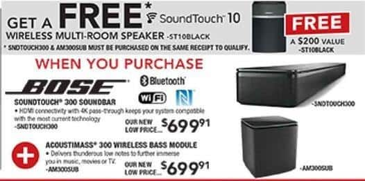 PC Richard & Son Black Friday: Get a Free SoundTouch 10 Wireless Multi-Room Speaker w/ Purchase of Both Bose SoundTouch 300 Soundbar and Accoustimass 300 Wireless Bass Module - $699.91 Each
