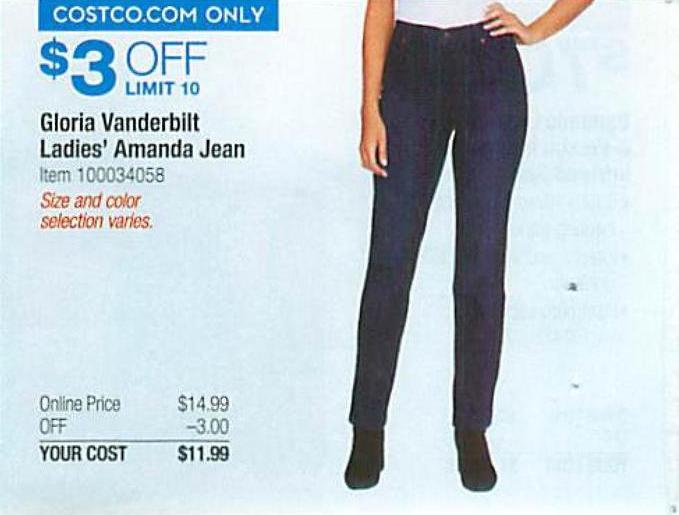 Costco Wholesale Black Friday Gloria Vanderbilt Ladies Amanda Jean