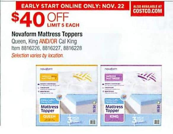 mattress topper black friday Costco Wholesale Black Friday: Novaform Mattress Toppers   $40 Off  mattress topper black friday