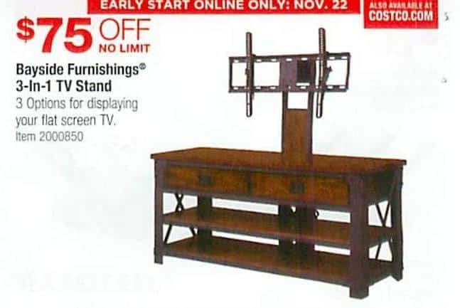 Costco Wholesale Black Friday Bayside Furnishings 3 In 1 Tv Stand