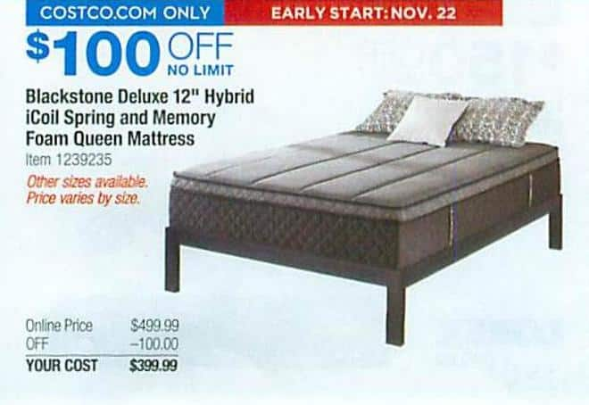 Costco Whole Black Friday Blackstone Deluxe 12 Hybrid Icoil Spring And Memory Foam Queen