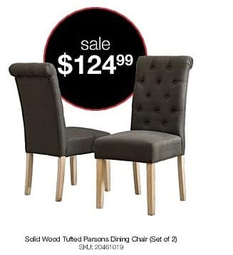 Genial Overstock Black Friday: Habit Solid Wood Tufted Parsons Dining Chair ( Set  Of 2 ) For $124.99