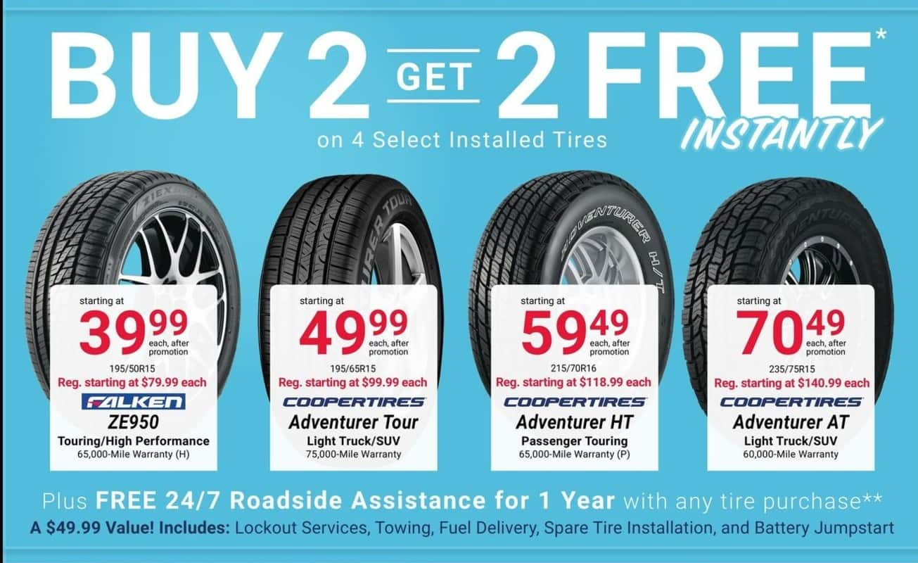 Pepboys Promo Code >> Pep Boys Black Friday Select Installed Tires B2g2 Free