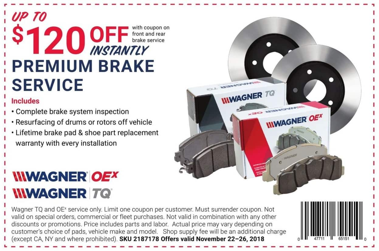 Pep Boys Black Friday: Wagner OEx or TQ Premium Brake