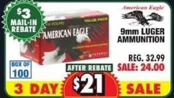 American Eagle Rebate >> Big 5 Sporting Goods Black Friday American Eagle 9mm Luger Ammo For