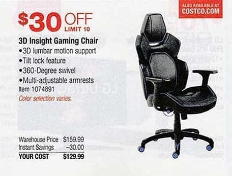 Costco Wholesale Black Friday: 3D Insight Gaming Chair for $129.99