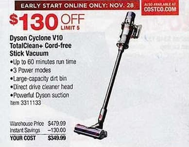 Costco Wholesale Black Friday: Dyson Cyclone V10 TotalClean+ Cord-Free Stick Vacuum for $349.99