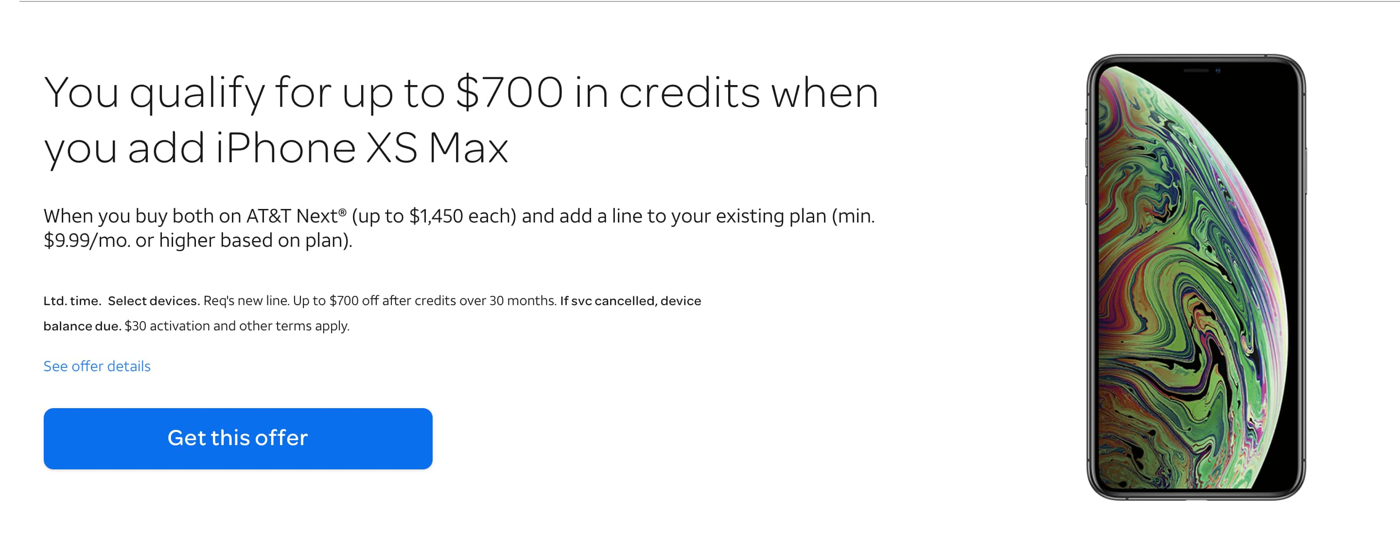 LIVE - AT&T - iphone XS and iPhone XS MAX BOGO - $700 off