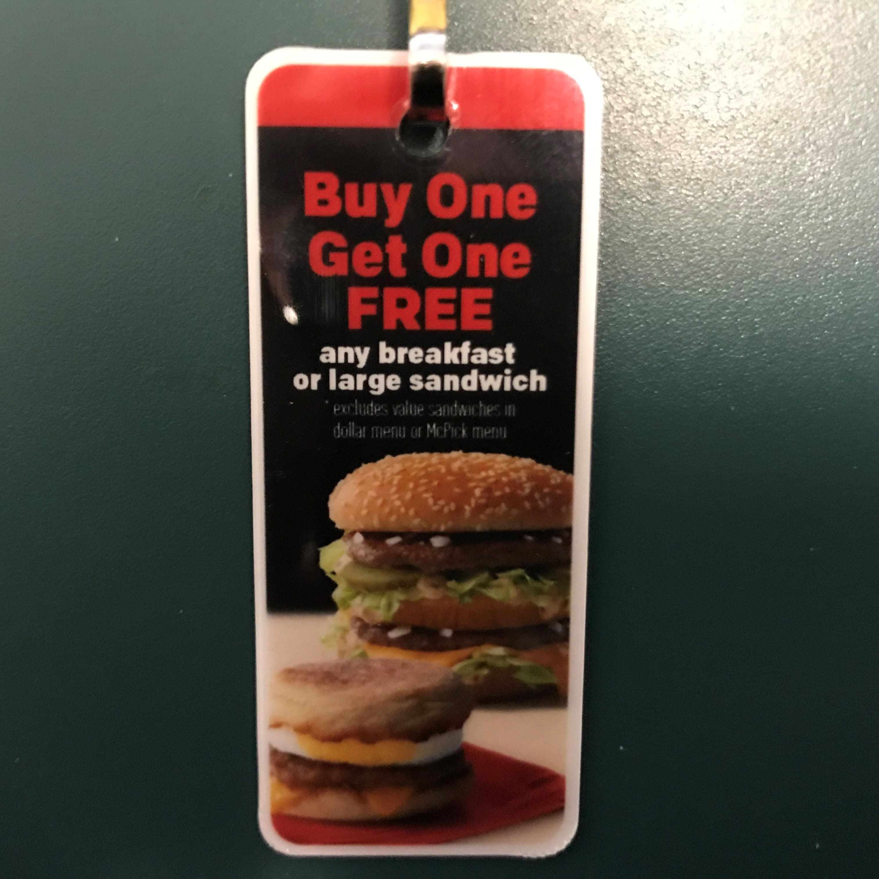 Mcdonalds Free Keychain Coupon Tag For Bogo Breakfast Or Lunch
