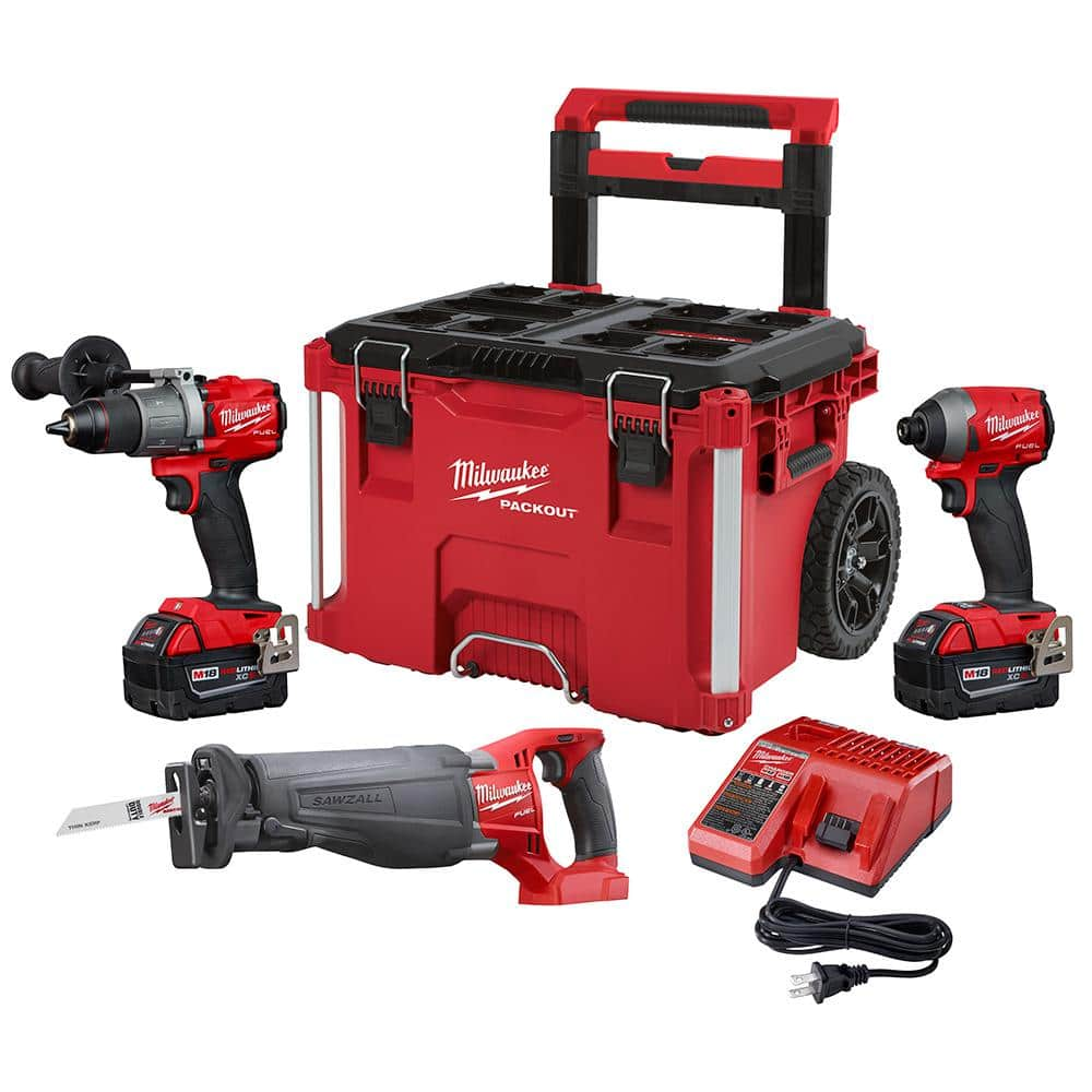 Milwaukee M18 FUEL Kit (hammer drill, impact driver, SAWZALL, Packout roller) + free tool for $449 Home depot