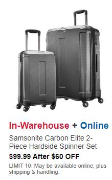 [COSTCO] Samsonite Carbon Elite 2-piece Hardside Spinner Set - $99.99 (starts 9/12)