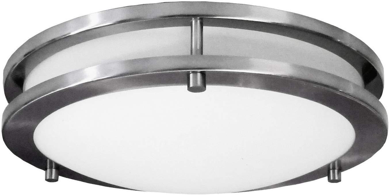 LED Decorative Brushed Nickel Round Ceiling Flush Mount Fixture $9.99