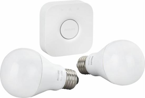 Philips Hue White A19 60W Equivalent Smart Bulb Starter Kit - Amazon & Best Buy $45
