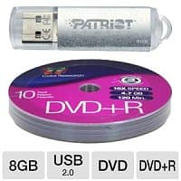 TigerDirect Deal: 10-Pack Color Research DVD+R Media + 8GB Patriot USB 2.0 Flash Drive