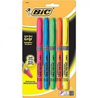 Staples Deal: 5-Pack BIC Brite Liner Grip Highlighters (Assorted Colors)