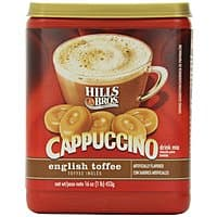 Amazon Deal: Hills Bros Cappuccino: 16oz. English Toffee or 12oz. Sugar-Free French Vanilla
