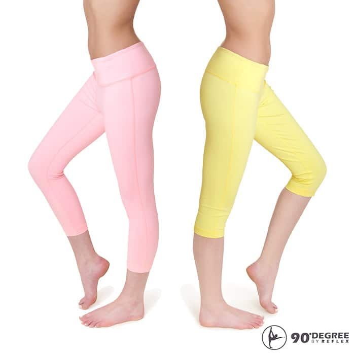 2-Pack of 90 Degree by Reflex Power Flex Performance Capri Yoga Pants (pastel colors for spring/summer) for $22.99 with free shipping
