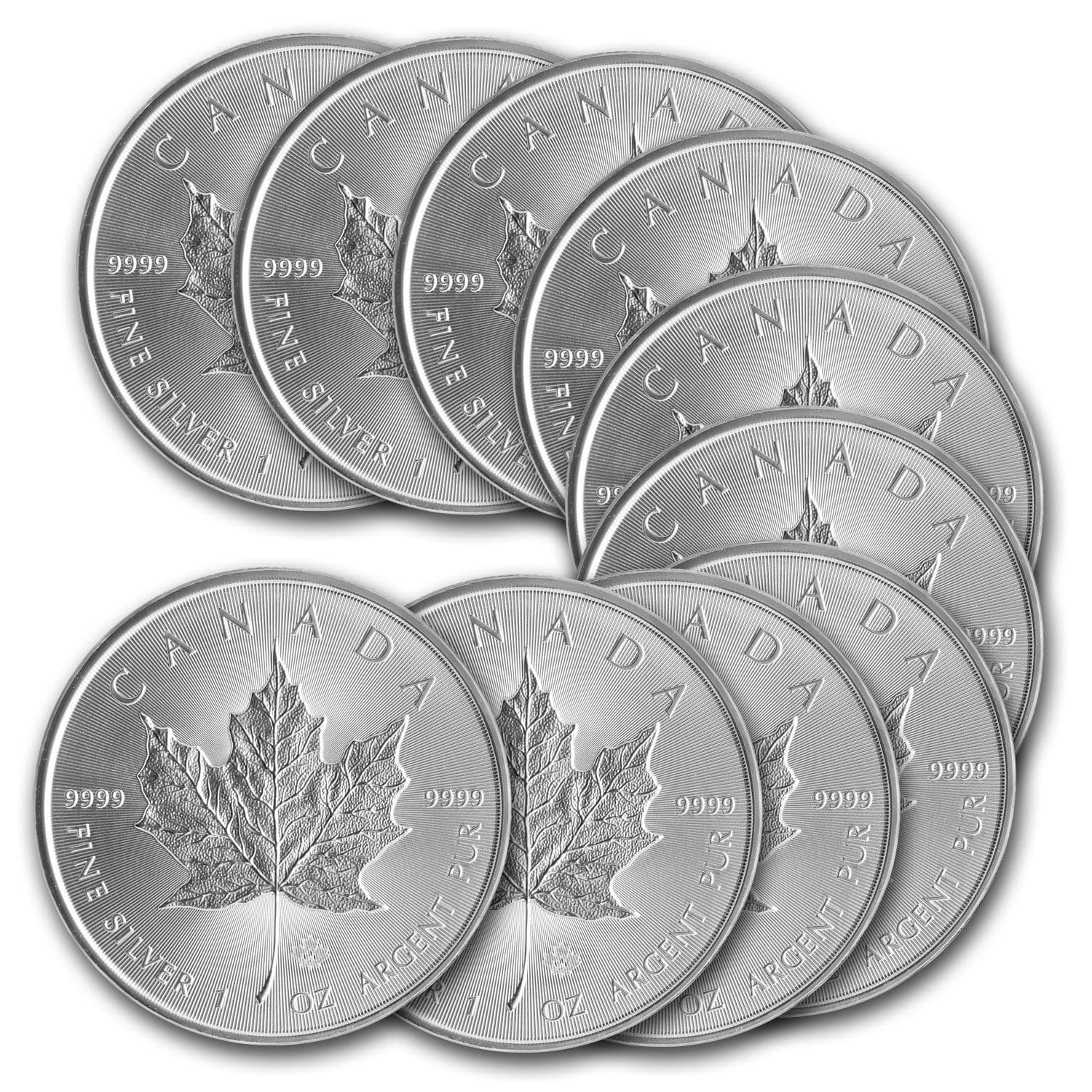 2014 1 oz Silver Canadian Maple Leaf Coin - Lot of 10 - SKU #79749 $220 FS @EBay via APMEX