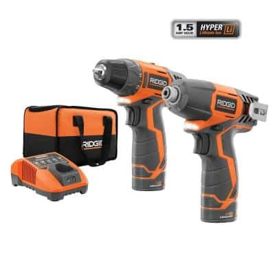 $99 - Ridgid 12-Volt Hyper Lithium-Ion Drill/Driver and Impact Driver Combo Kit - Home Depot