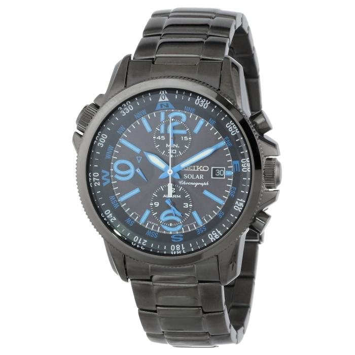 Seiko Men's Solar Adventure Black Ion Stainless Steel Watch  $150 + Free Shipping