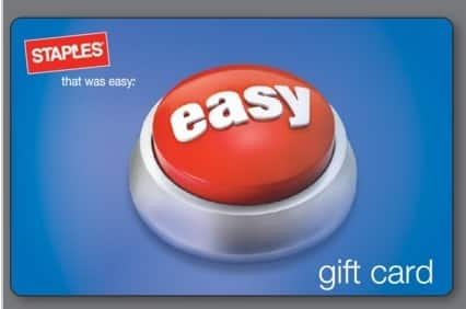 Free $50 Staples ePromo Card with $300 in Staples eGift Cards