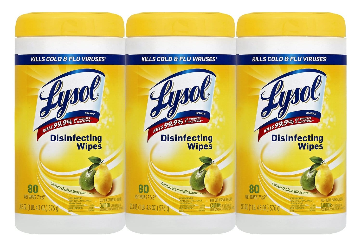 3-Pack of 80-Count Lysol Disinfecting Wipes (Lemon and Lime Blossom)  $6.50 + Free Shipping