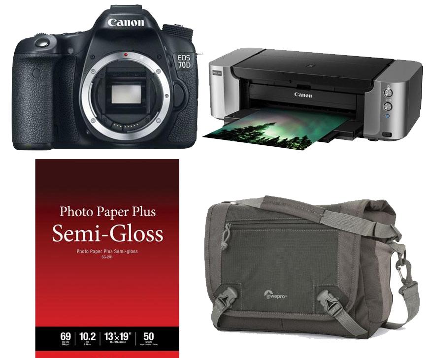 Canon EOS 70D DSLR Bundles: Canon EOS 70D DSLR Body + PIXMA PRO-100 Inkjet Printer + Lowepro Nova Sport Bag + 50-Sheets Photo Paper $649 after $350 rebate & more Bundles