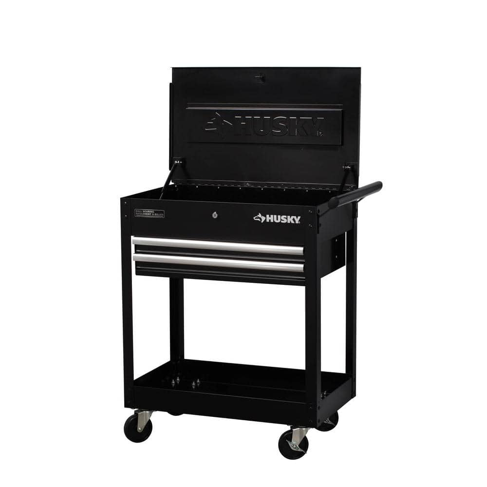 Husky 28 in. 2-Drawer Utility Cart, Black - Home Depot - FS - $39.88
