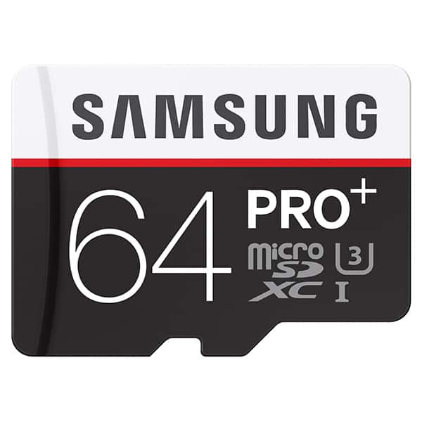 Samsung 64GB PRO+ UHS-I SDXC U3 micro sd Memory Card, good for 4K video, $29.99 at samsung.com + shipping + tax