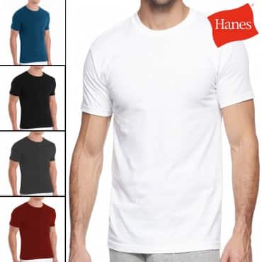 2-Pack Hanes Men's Cotton Stretch Crew Neck T-Shirts (various colors)  $7 + Free Shipping