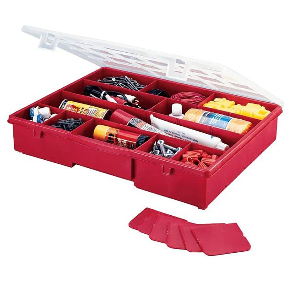 "Stack-On Storage Box 14-1/2"" with 17-Compartments (red) for $4.99 at Sears"