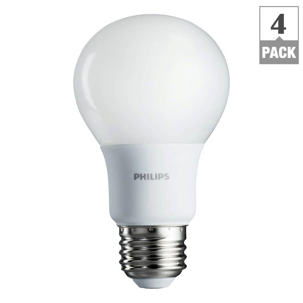 4-Pack of Philips 60W Equivalent Soft White LED A19 2700K Light Bulbs $6.97 + Free Store Pickup Homedepot.com