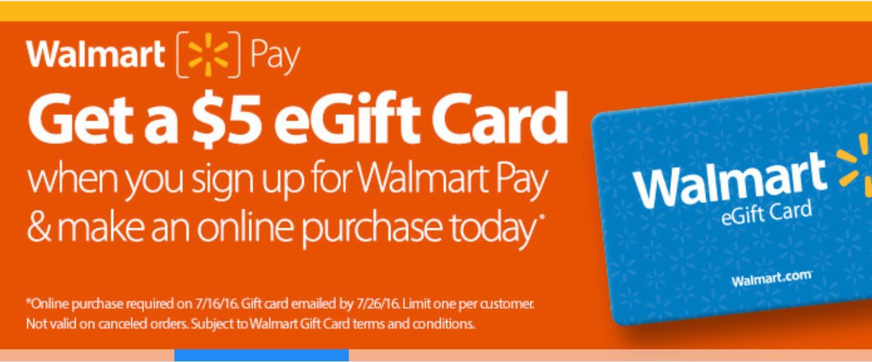 Free $5 Walmart egift card with Walmart pay