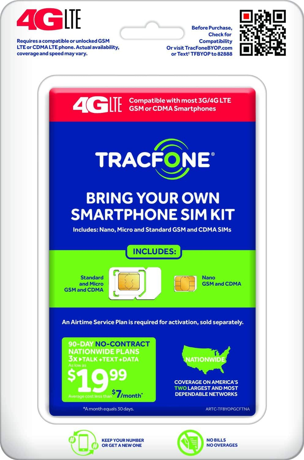 TracFone Bring Your Own Smartphone SIM Kit  $1 + Free Store Pickup