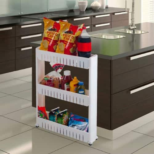 Trademark 3-Tier Slim Slide Out Pantry on Rollers (White)  $14 + Free Store Pickup
