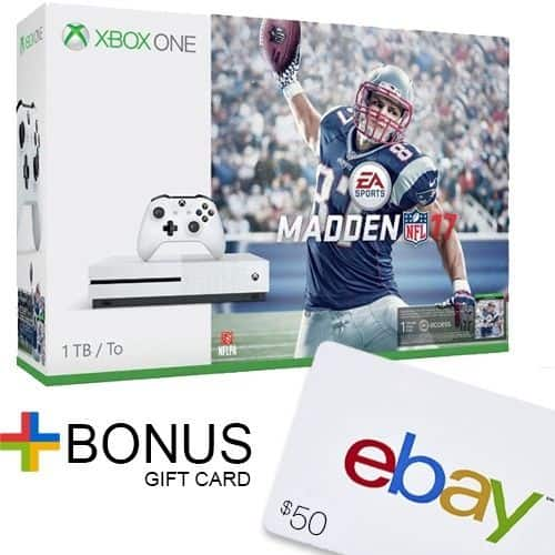 Xbox One S 1TB Console - Madden NFL 17 Bundle + $50 eBay Gift Card for $350 + Free Shipping (eBay Daily Deal)